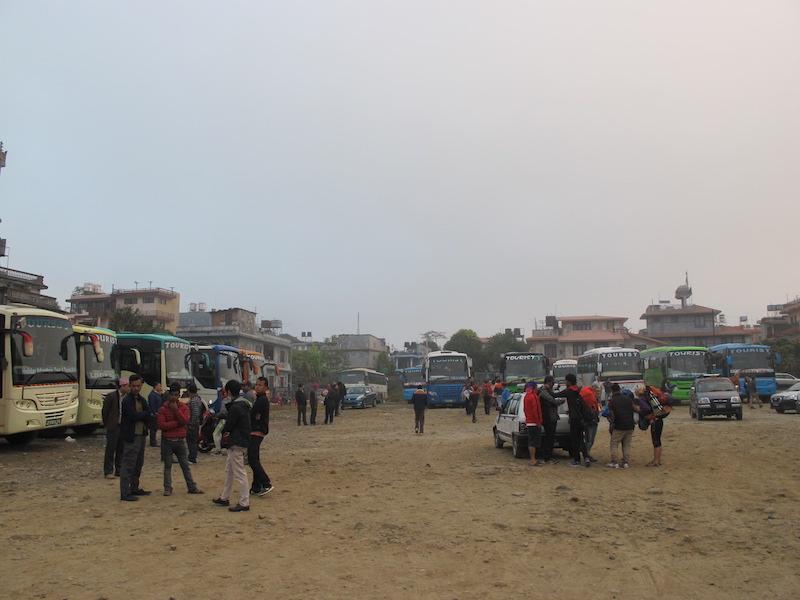 Estación de autobuses en Pokhara, Nepal